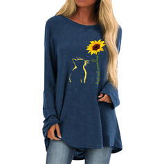 Animal Print Sunflower Print Figure Round Neck Long Sleeves Casual T-shirts