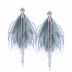Fashionable Alloy Rhinestones Feather Women's Fashion Earrings