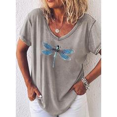 Dyreprint V-hals Korte ermer Casual T-skjorter