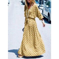 Print 3/4 Sleeves A-line Skater Casual/Vacation Maxi Dresses