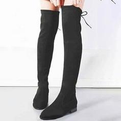 Femmes Suède Talon bottier Bottes hautes avec Zip Dentelle chaussures
