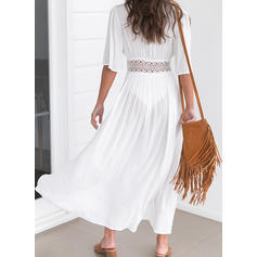 Solid 1/2 Sleeves Shift Vacation Maxi Dresses