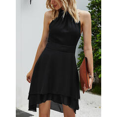 Solid Sleeveless A-line Asymmetrical Casual/Vacation Dresses