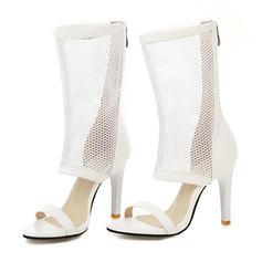 Women's Leatherette Stiletto Heel Sandals Pumps Boots Peep Toe With Zipper shoes