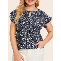 Print Floral Round Neck Short Sleeves Casual Plus Size Blouses