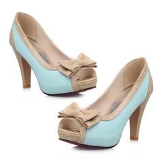 Femmes PU Talon stiletto Sandales Escarpins À bout ouvert avec Bowknot chaussures