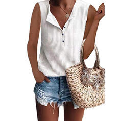Solid V-Neck Sleeveless Button Up Casual Knit Tank Tops