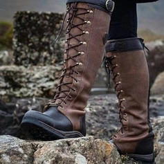 Pentru Femei PU Fară Toc Cizme Cizme până la genunchi cu Lace-up pantofi
