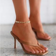 Dámské PU Jehlový podpatek Sandály Lodičky S otevřenou špičkou Žabky Pantofle Prst prst Podpatky S Vydlabaný Solid Color obuv