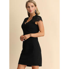 Lace/Solid Short Sleeves Shift Above Knee Little Black/Casual/Party Dresses