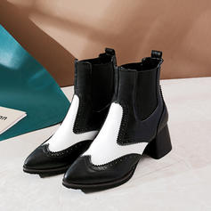 Women's Leatherette Chunky Heel Ankle Boots With Elastic Band shoes