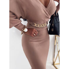 Solid Long Sleeves/Lantern Sleeve Bodycon Knee Length Party/Elegant Pencil Dresses
