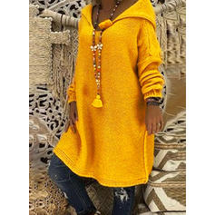Solid/Cable-knit Long Sleeves Shift Knee Length Casual Dresses