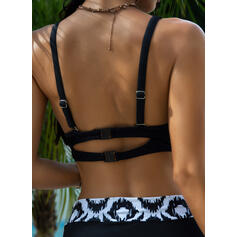 High Waist Geometric Halter Sexy Plus Size Bikinis Swimsuits