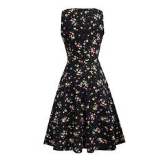 Print/Floral Sleeveless A-line Knee Length Casual Dresses