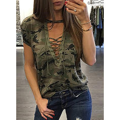 Print V-Neck Short Sleeves Casual Sexy T-shirt