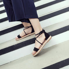 ea5aee1b00fc4 [US$ 29.99] Frauen Veloursleder Flascher Absatz Sandalen Flache Schuhe Peep  Toe mit Zuschnüren Schuhe - VeryVoga