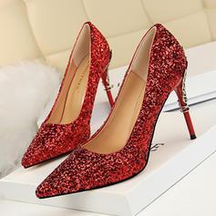 Vrouwen Sprankelende Glitter Stiletto Heel Pumps Closed Toe met Sprankelende Glitter Juwelen Hak schoenen