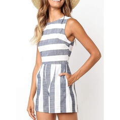 Striped Round Neck Sleeveless Casual Romper