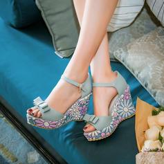 Dla kobiet Skóra ekologiczna Obcas Koturnowy Czólenka Koturny Z Kokarda obuwie