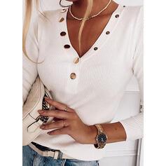 Einfarbig V-Ausschnitt Lange Ärmel Mit Knöpfen Freizeit Basic Stricken Blusen