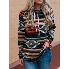 Print High Neck Long Sleeves Sweatshirt