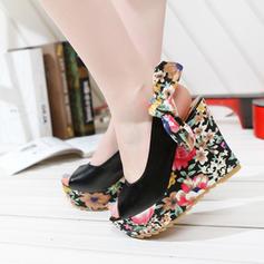 Femmes Similicuir Talon compensé Sandales Escarpins Plateforme Compensée avec Bowknot chaussures