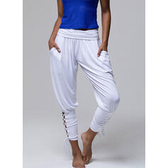 Solid Long Casual Solid Sporty Pants