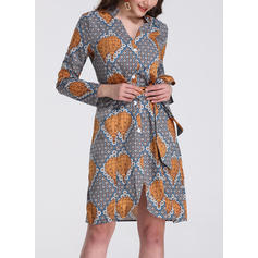 Print Long Sleeves A-line Knee Length Casual/Boho/Vacation Dresses