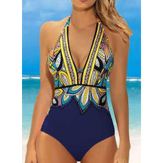 Floral Print Halter Sexy Boho One-piece Swimsuits