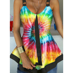 Print Tie Dye Strap Sleeveless Tank Tops