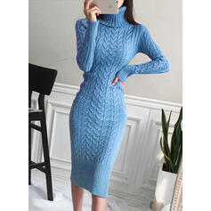 Solid Cable-knit Turtleneck Casual Long Tight Sweater Dress