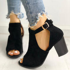 Vrouwen Suede Chunky Heel Enkel Laarzen met Gesp schoenen