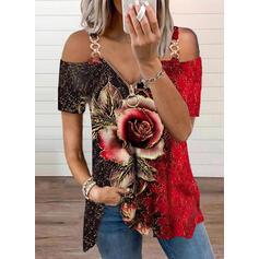 Print Color Block Blomster Kolde skulder Korte ærmer kold skuldermuffer Casual Bluser