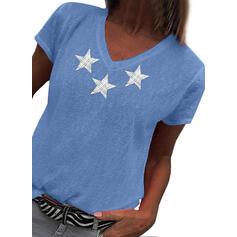 Nadruk Dekolt w kształcie litery V Krótkie rękawy Casual T-shirty