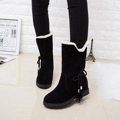 Femmes Suède Talon bas Bottes mi-mollets Bottes neige avec Tassel chaussures