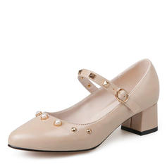 Women's Leatherette Chunky Heel Pumps Closed Toe Mary Jane With Imitation Pearl Rivet Buckle shoes