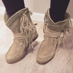 Women's Suede Flat Heel Boots Mid-Calf Boots With Sequin Tassel shoes