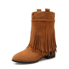 Women's Suede Low Heel Boots Mid-Calf Boots With Tassel shoes