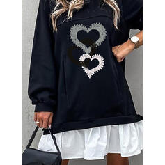 Print/Beaded/Heart Long Sleeves Shift Above Knee Casual Tunic Dresses