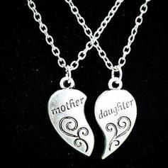 En forme de coeur Alliage Collier mère fille