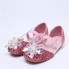 A menina de Toe rodada Mary Jane Glitter espumante Heel plana Sem salto Sapatas do florista com Espumante Glitter Cristal