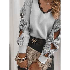 Lace Sequins V-Neck Casual Sweaters