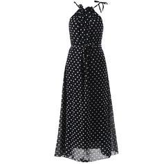 PolkaDot Halter Maxi Shift Dress