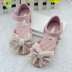 Girl's Leatherette Flat Heel Peep Toe Mary Jane Sandals With Imitation Pearl Satin Flower Velcro
