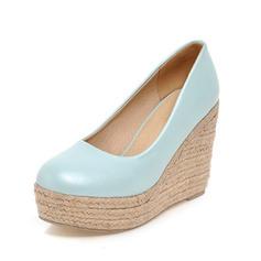 Femmes Similicuir Talon compensé Escarpins Bout fermé chaussures