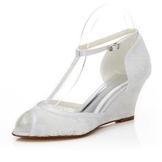 Women's Lace Wedge Heel Peep Toe Sandals
