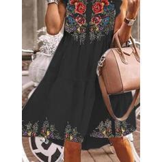 Εκτύπωση/Φλοράλ Αμάνικο Αμάνικο Μήκος Γόνατος Καθημερινό Танк Сукні