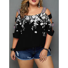 Floral Print Cold Shoulder 3/4 Sleeves Plus Size Casual