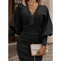 Lace/Solid Long Sleeves/Lantern Sleeve Sheath Knee Length Little Black/Elegant Sweater Dresses